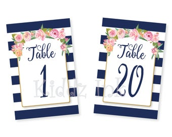 Wedding Table Number Signs | 4x6 | 1-20 | Navy and White Stripes with Pink Flowers | Wedding | Bridal Luncheon | PRINTABLE DIGITAL DOWNLOAD