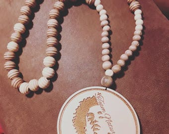 Necklace Wooden Beads with Giant Medallion