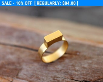 SALE 10%, Gold Signet Rings for Women, Gold Plated Ring, Geometric Ring, Gold Minimalist Ring, Rectangle Ring, Personalized Gold Ring