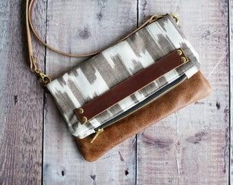 leather bag, leather handbag, leather bag, leather crossbody, crossbody purse, clutch bag, clutch purse, Japanese fabric purse
