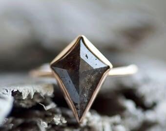 18k Rose Gold Rose Cut Brown Kite Diamond Engagement Ring. Kite Diamond Ring. Brown Kite Diamond Ring. Kite Ring.