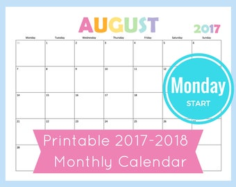 Monthly Calendar Printable, 2017 Monthly Calendar, Discbound Planner Pages, Printable Monthly Calendar