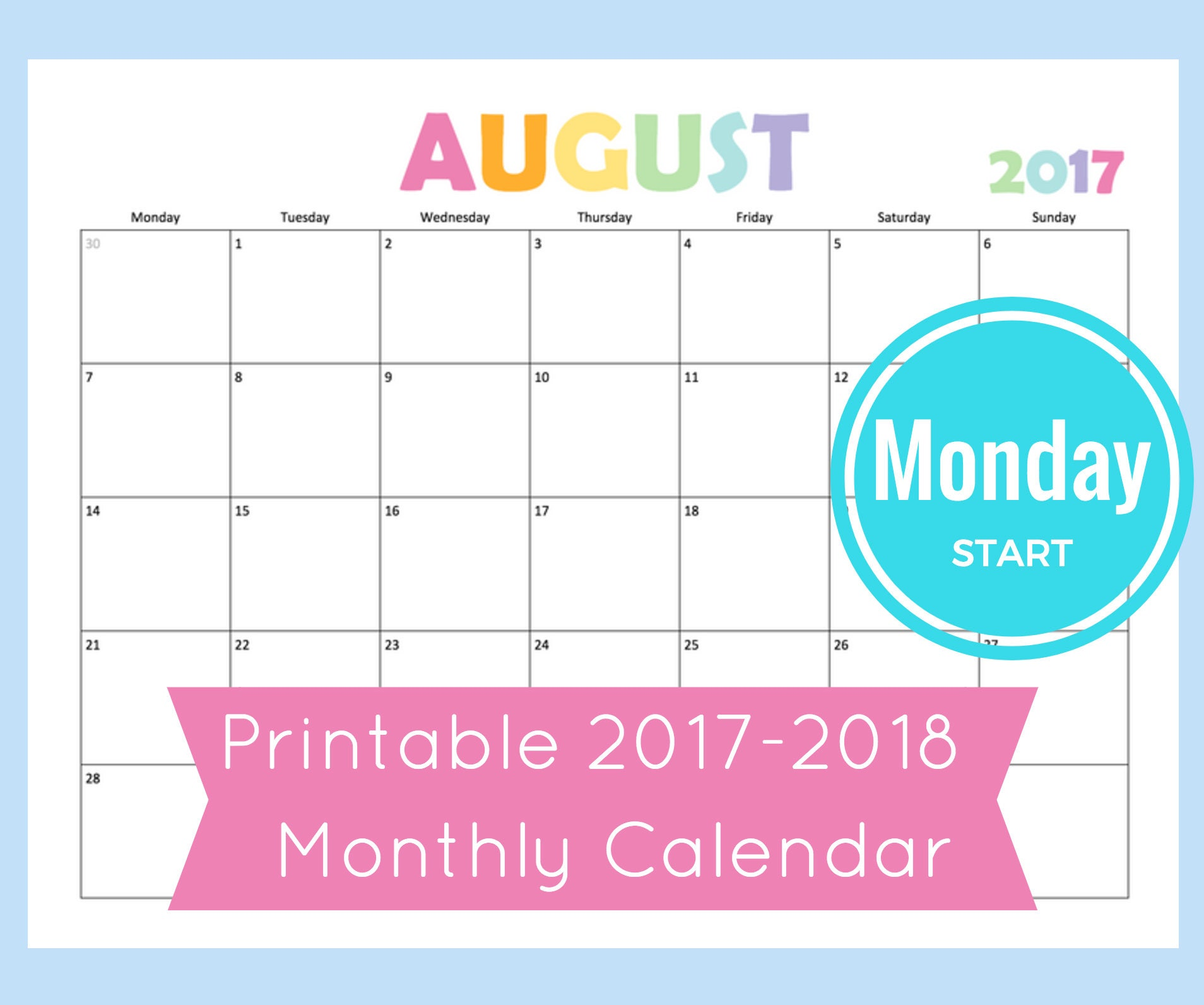 Monthly Calendar Page For Printable Planner 8.5X11 Letter