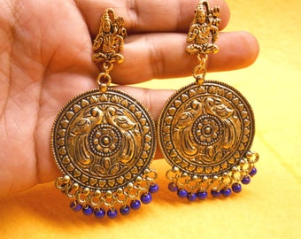 Nepali Boho Golden Oxidized Traditional Purple Beads Jhumka Jhumki Earring JER16
