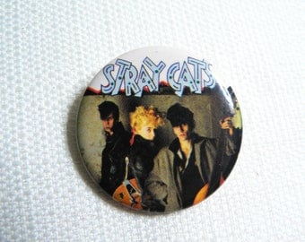 Vintage 80s - Stray Cats - Self-titled Debut Album (1981) Pin / Button / Badge