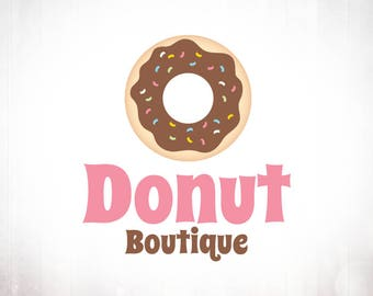 Premade Logo Design • Donut with Chocolate Frosting and Sprinkles