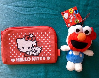 Hello Kitty with face of Sesame Street Elmo unique doll & Hello Kitty Soft Pouch