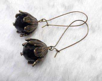 Black Glass Flower Earrings