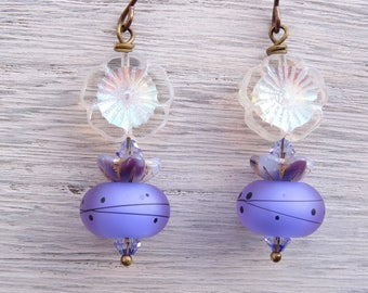 Lampwork Glass Earrings, Czech Glass Earrings, Mauve Earrings, Lavender Earrings, Floral Earrings, Flower Earrings, Handmade Earrings.