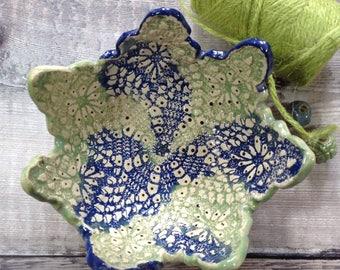 Handmade Ceramic Lace Star Dish