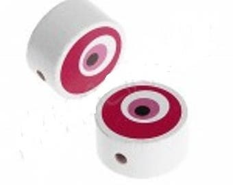Round wooden beads - pink eye (F103)