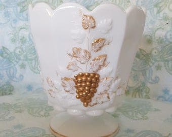 Westmoreland Paneled Grape Milk Glass with Gold, Jardinie Vase, Milk Glass with Gold, Westmoreland, 6 3/4 in. tall