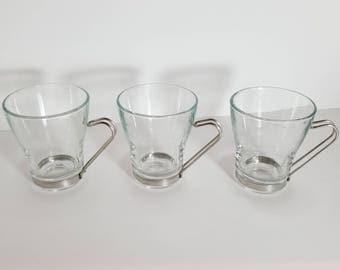 Set of 3 Vintage Vitrosax Italy Cappuccino Glasses
