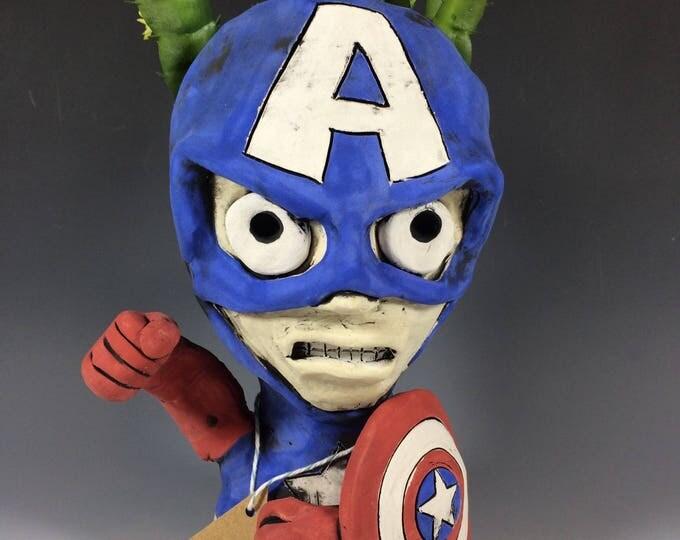 Captain American // Pothead // Ceramic Planter // Small Decor // Home // Office // Planter // Superhero // Patriotic//  Gift for Him Her