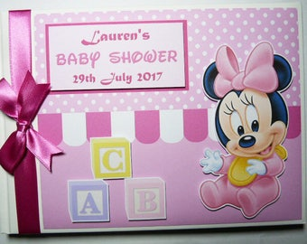 Baby Minnie Birthday Guest Book Personalised Memory Book '1st Birthday' - any design