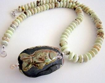 Summer Necklace, Raku Porcelain Fish Pendant, Citron Chrysoprase Necklace, Raku Pendant Green Gemstone Necklace