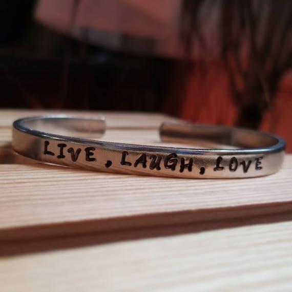 Live, Laugh, Love Metal Stamped Bracelet
