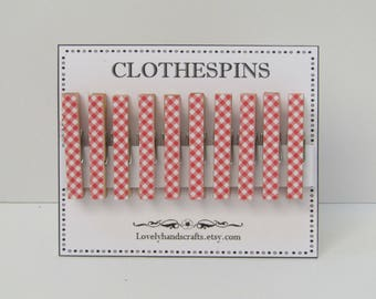 Mini - Red Gingham Clothespins - Set of 10