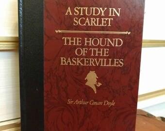 Vintage 1986 Sir Arthur Conan Doyle Sherlock Holmes A Study in Scarlet/Hound of Baskervilles Decorative Hardcover Book