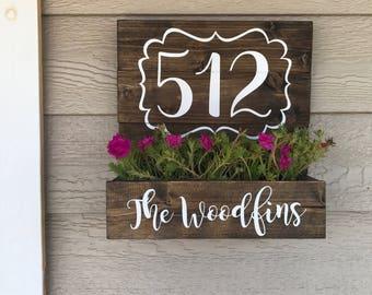 House Number Planter, Wooden Address Planter Box