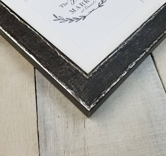 Edda Charcoal Wood Picture Frame With White Mat 8x10 9x12