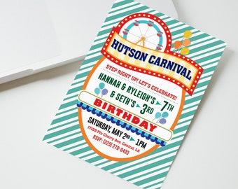 25 Carnival Themed Birthday Invitations