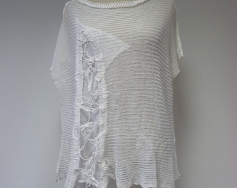 Special price. Summer transparent white linen blouse, XL size.