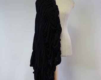 Artsy boho black shawl. Only one sample.