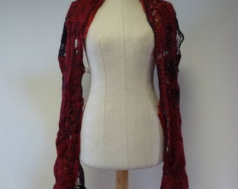 Artsy red/black mohair shawl. Perfect for gift.