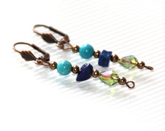 Turquoise and lapis lazuli earrings