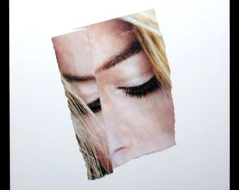 "Karen Savage Collage ""Face"" Series Color Photograph Photo Blonde Vintage Modern Art"