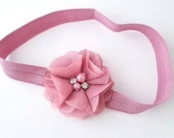 Mauve Headband, Dusty Pink Headband, Dusty Rose Headband, Newborn Headband, Preemie Headband, Baby Girl Headband, Girls Pink Headband