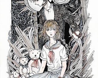 Mogami Arc - Original ink and watercolor drawing
