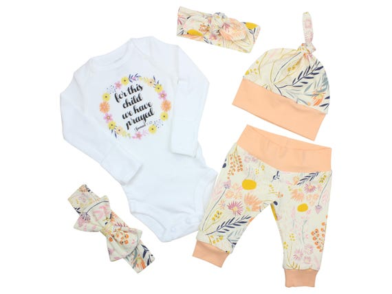 For This Child We Have Prayed Newborn Coming Home Set Outfit Bodysuit Infant Outfit Wildflower Baby Leggings Top Knot Hat Knot Headband Bow