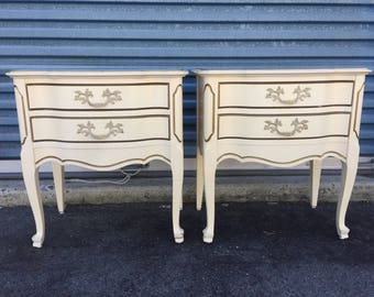 Pair of Tall Vintage French Provincial Nightstands End Tables
