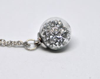 Necklace in blown glass ball, with crystal rhinestone, bright, elegant