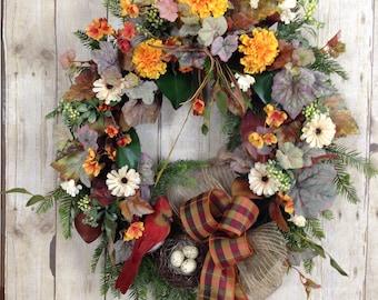 Fall Door Wreath, Fall Wreaths, Fall Front Door Wreath,  Door Wreath, Fall Bird Wreath, Grapevine Outdoor Wreath, Birds Nest Wreath.