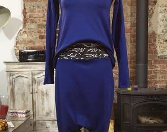 blue set, loose sweatshirt, baggy trousers, loose trousers, elastic trousers like leggings
