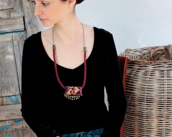 Jewelry Necklaces, Dangling Small, Collar Necklace, Handmade  Embroidery, Boho Necklace, Gift for Her, Gypsy Jewelry, Tribal Ethnic, Gifts