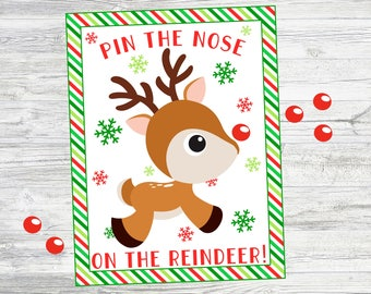 Pin the Nose on the Reindeer. Printable Reindeer Game for Christmas Party or Activity. Instant Digital Download. 8x10, 11x14 & 16x20 posters