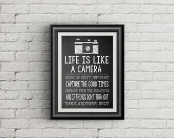 SALE Life Is Like A Camera Wall Art Print