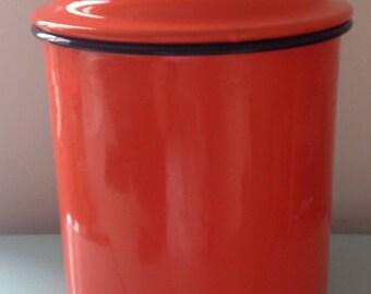 Vintage Bright Orange Enamel Lidded Container