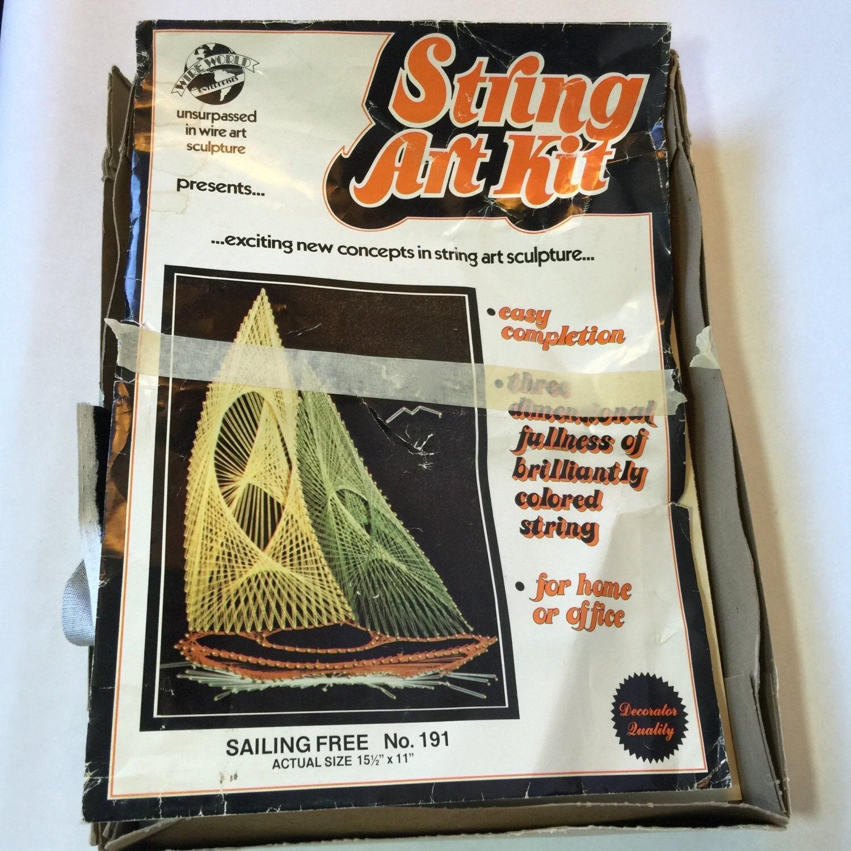 String art craft kit - Vintage String Art Kit String Art Sailboats Complete String Art Craft Kit Retro Decor Diy Wall Art Kit Vintage Wall Art Craft Kit