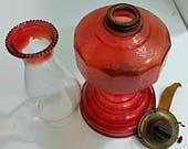 Red Hurricane Oil Lamp,Red Kerosene Oil Lantern,P & A Kerosene Oil Lamp,P and A Hurricane Oil Lamp,Red Hurricane Kerosene Lamp,Red Oil Lamp