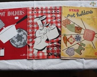 Vintage 1930's And 1940's Crochet Pot Holder Instruction Book Set Of Three