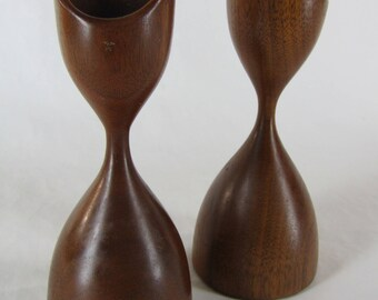 Pair mid century turned wood 6 inch candle holders