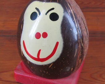 CLEARANCE vintage coconut monkey head bank missing its ears