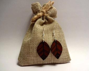 Red ochre graphic leaf earrings