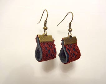 Blue leather and Burgundy lace earrings