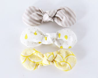 Lemonade Stand Fabric Twist Knot Bow Hair Clip Set-STANDARD SIZE // Girls Hair Accessory // Grey Stripes, Lemon Drop, Lemon Slices